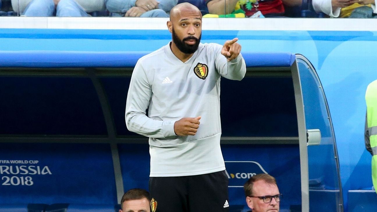 Thierry Henry was a coach as Belgium finished third at the World Cup.