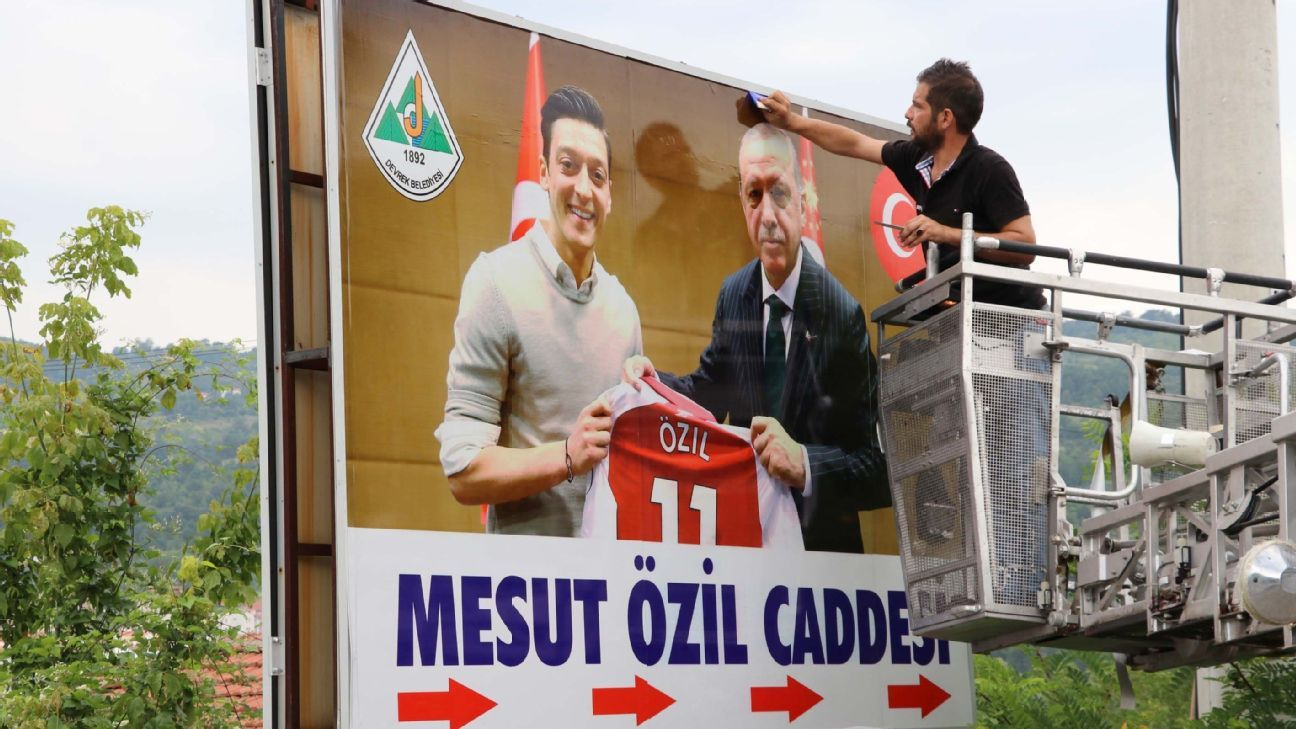 A picture of Mesut Ozil and Turkey president Recep Tayyip Erdogan is erected in Ozil's hometown of Devrek.