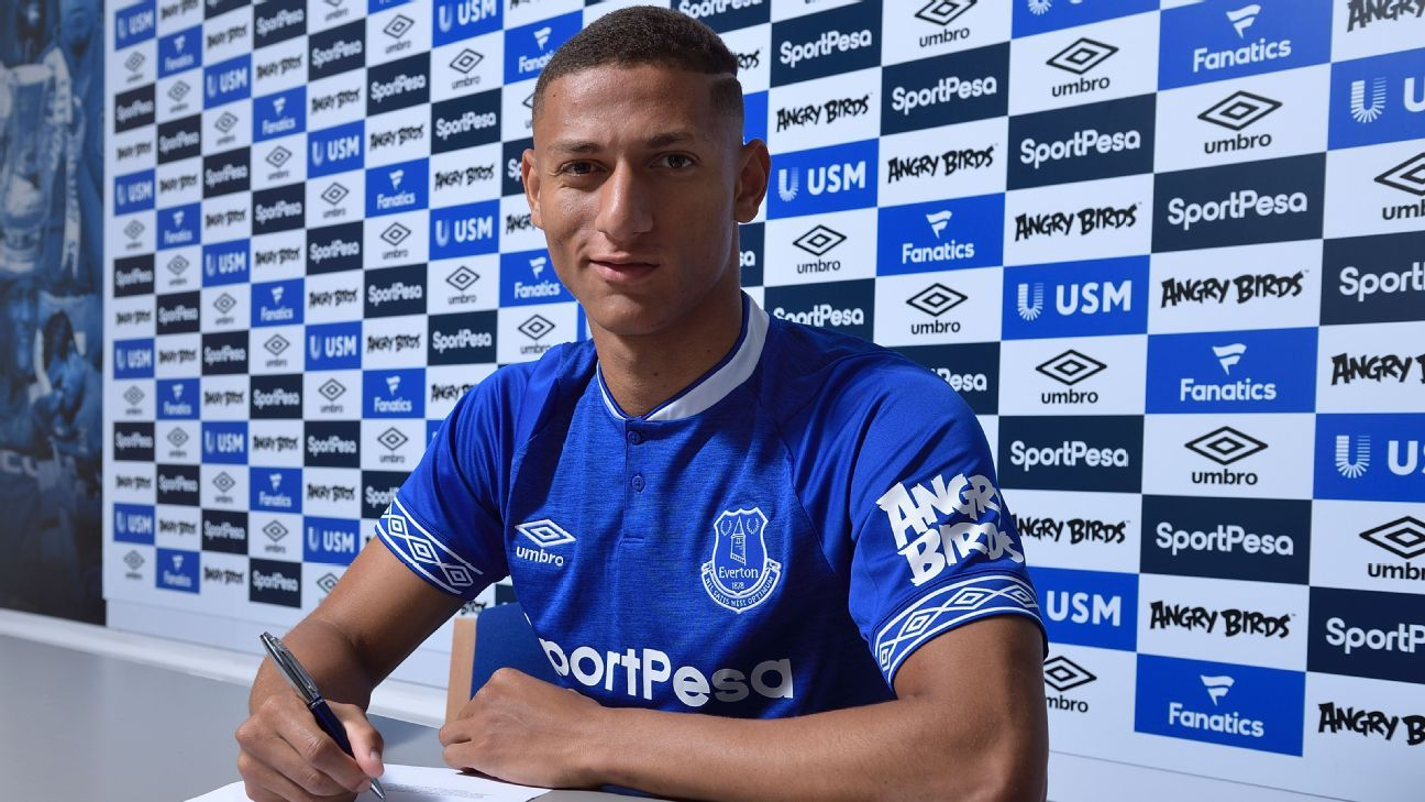 Richarlison signs his contract after agreeing to join Everton from Watford.