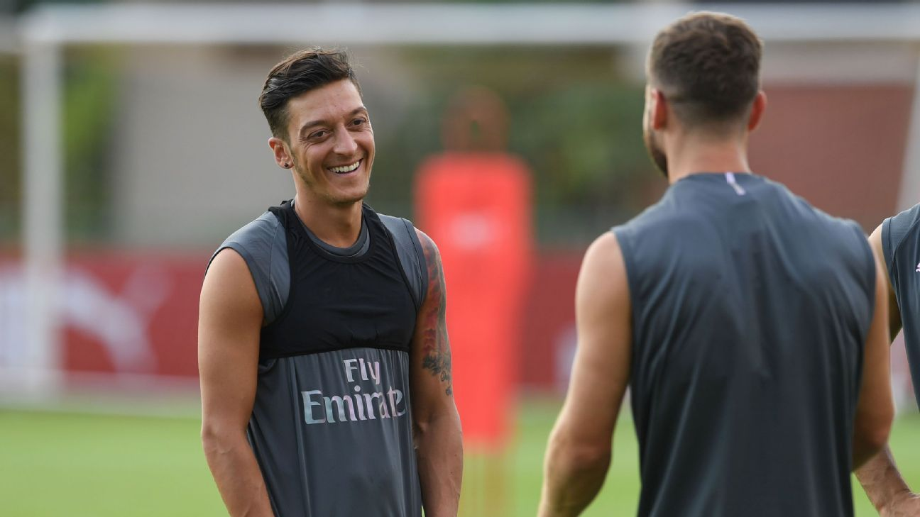 Mesut Ozil during an Arsenal preseason training session in Singapore.
