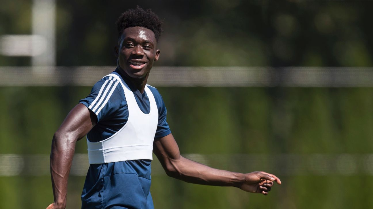 Alphonso Davies looks on during Vancouver Whitecaps training.