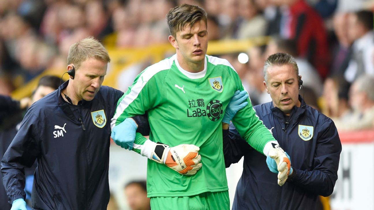 Nick Pope was brought off just 14 minutes into his Europa League debut with Burnley.
