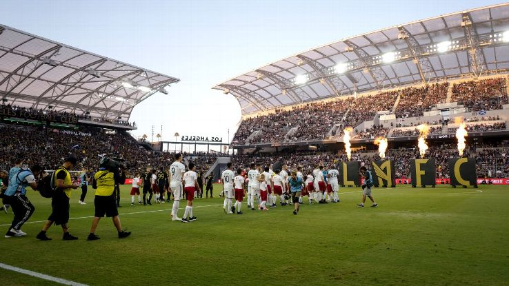 LAFC enter the field of play ahead at Banc of California ahead of their MLS derby game vs. LA Galaxy.