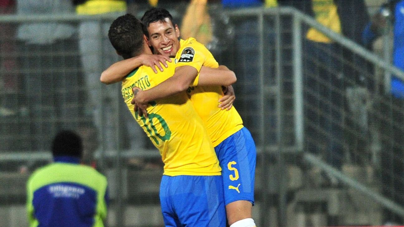 Gaston Sirino celebrates a goal with Ricardo Nascimento of Mamelodi Sundowns