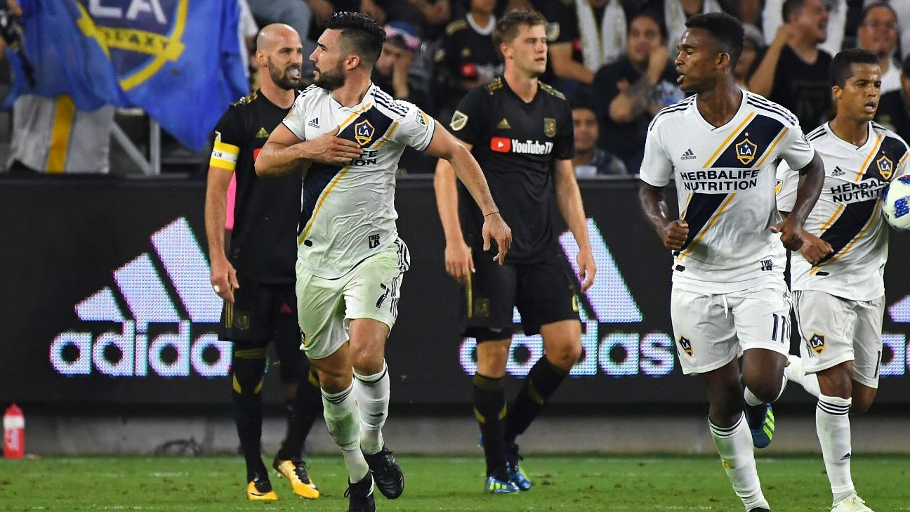 Romain Alessandrini celebrates after scoring a goal for the LA Galaxy against LAFC.
