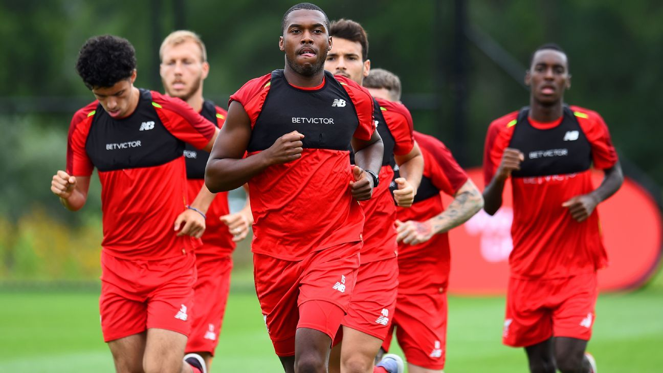 Daniel Sturridge in preseason training with Liverpool at the Red Bull Training Centre in Newark, New Jersey.