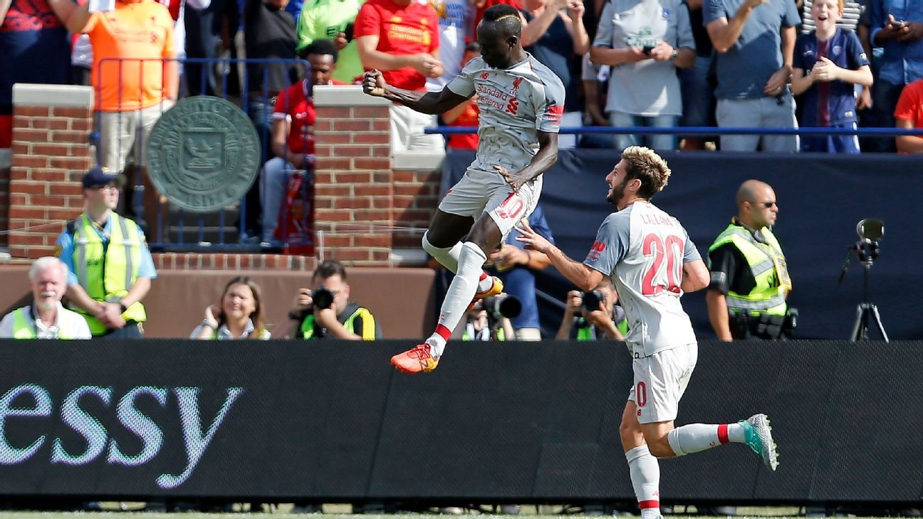 Sadio Mane celebrates scoring during Liverpool's International Champions Cup win over Manchester United.