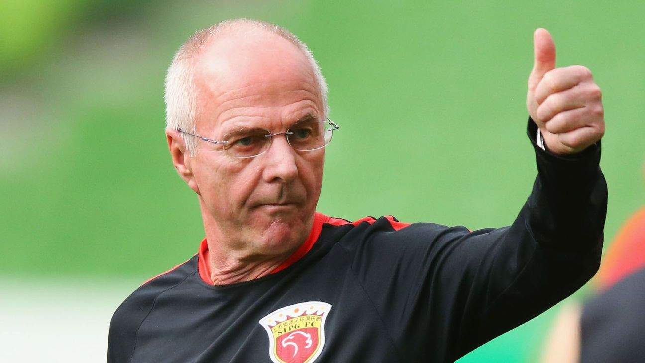 Sven Goran Eriksson during his time in charge of Shanghai SIPG