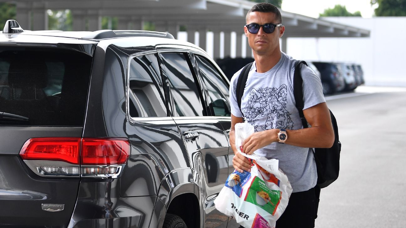 Cristiano Ronaldo arrives at Juventus ahead of his first day of preseason.