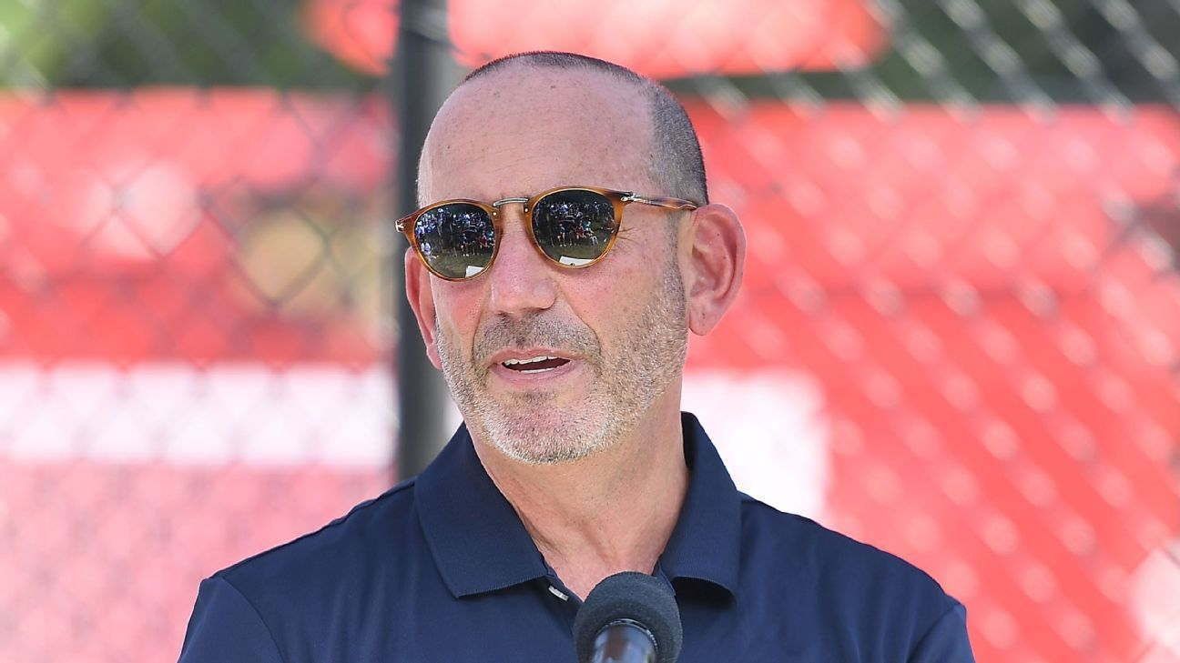 Commissioner Don Garber speaks at the MLS All-Star Community Day.
