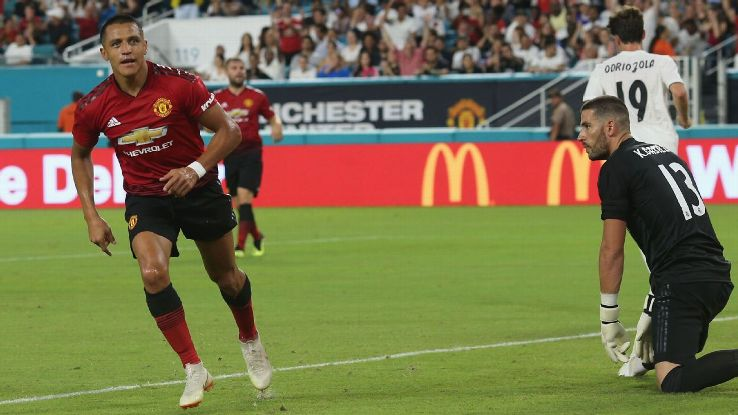 Alexis Sanchez celebrates after scoring a goal for Manchester United against Real Madrid.