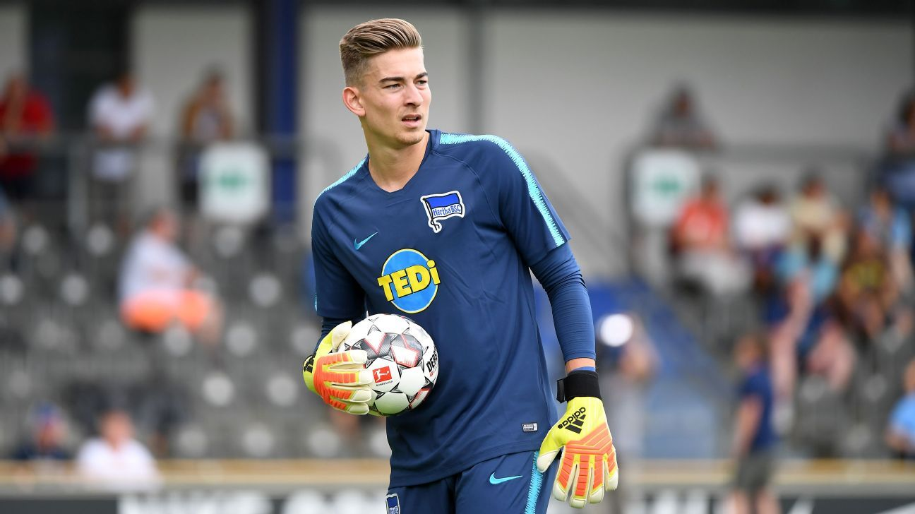 Jonathan Klinsmann during a Hertha Berlin training session.