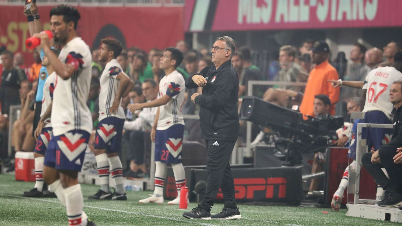 Tata Martino looks on during the MLS All-Star Game.