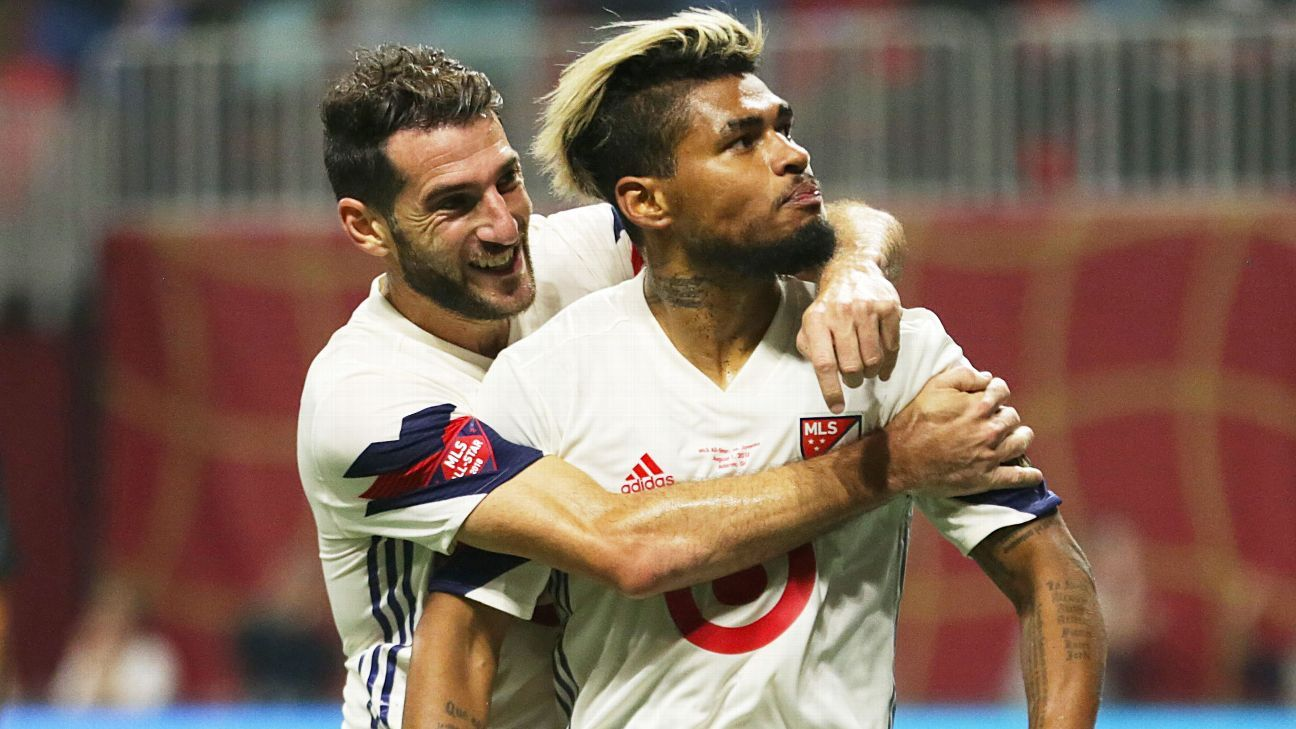Josef Martinez celebrates scoring in the MLS All-Star Game vs. Juventus.