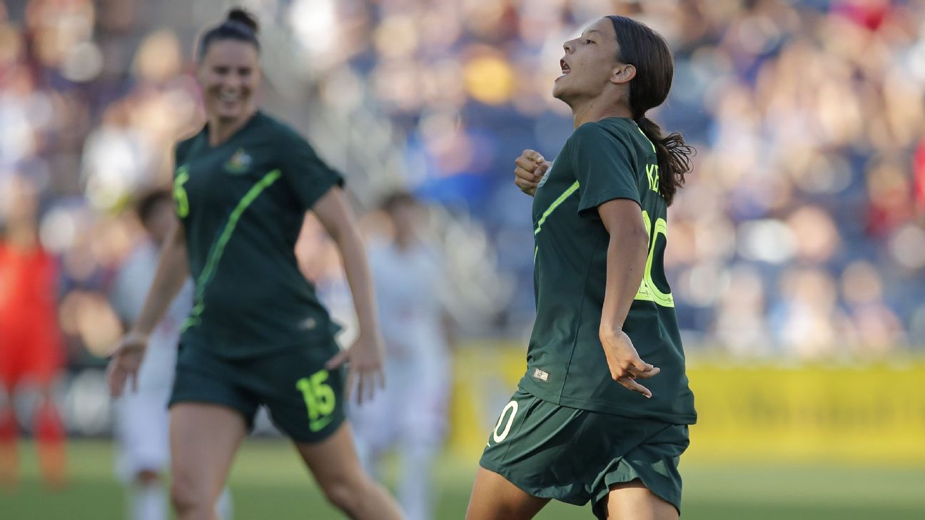 Samantha Kerr celebrates after scoring a goal for Australia against Japan.