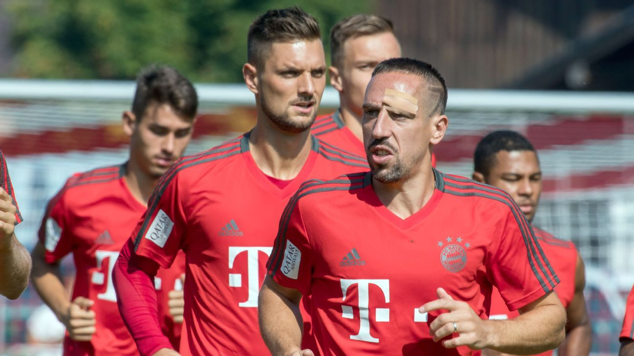 Franck Ribery trains with a plaster on his head after running into a goal post the previous day.