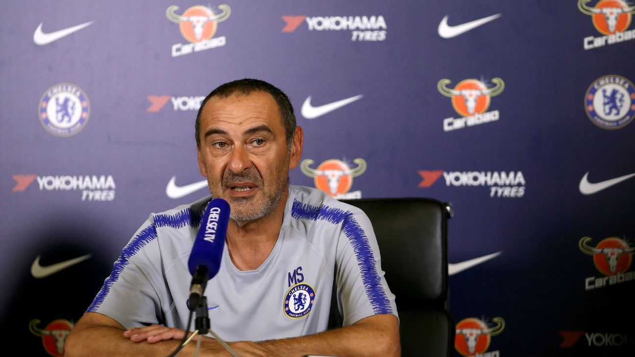 Maurizio Sarri speaks at a news conference ahead of Chelsea's Community Shield game against Manchester City.