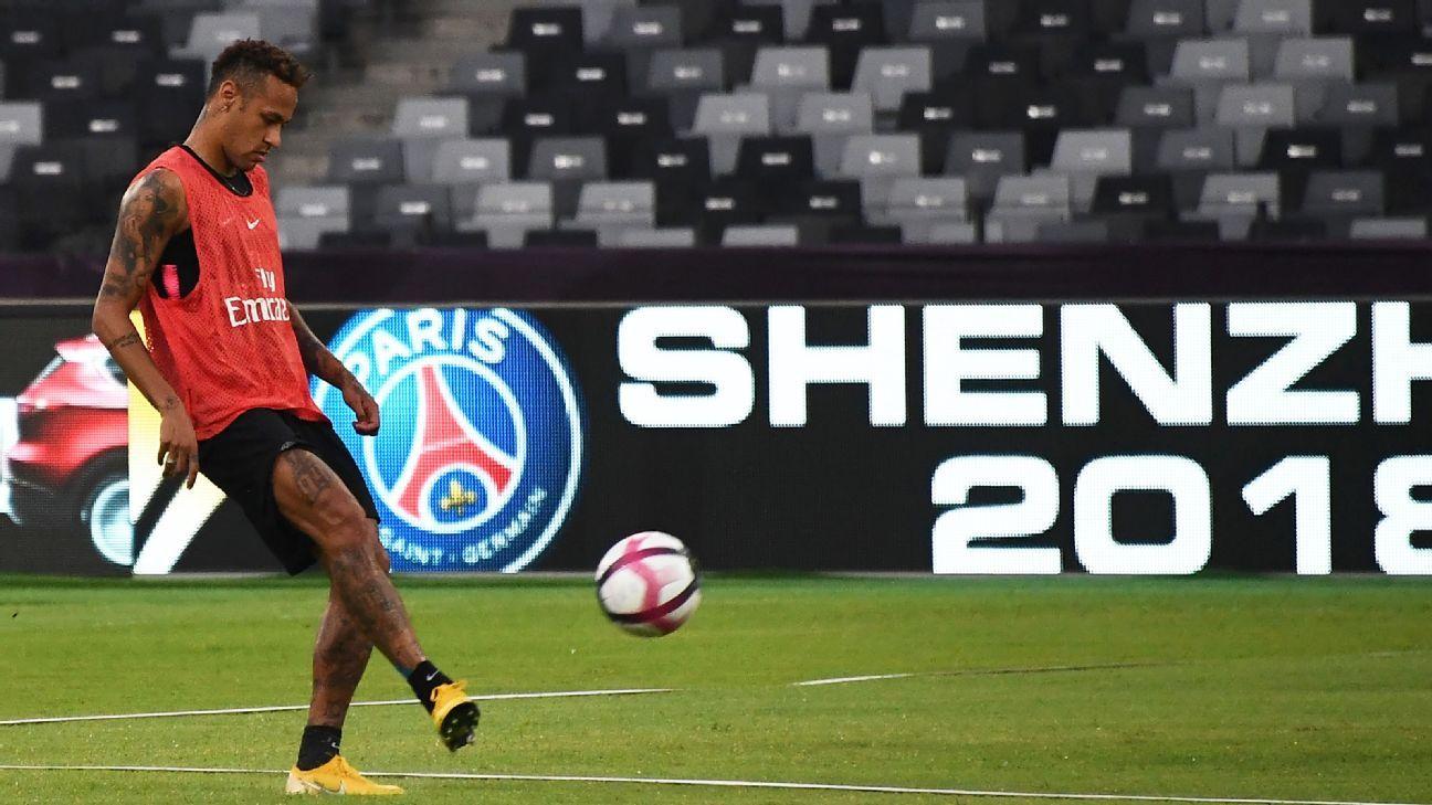 Paris Saint-Germain forward Neymar participates in training in Shenzhen, China.