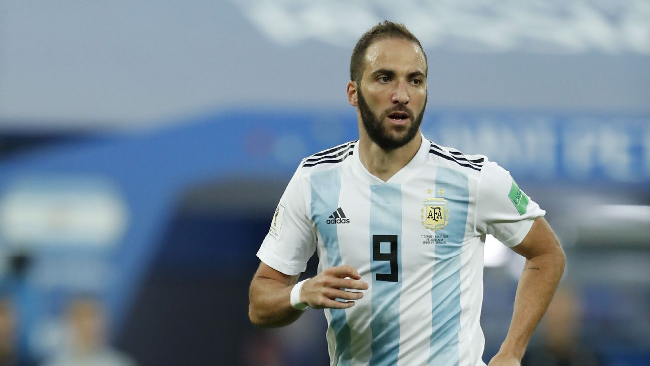 Argentina's Gonzalo Higuain during the World Cup game against Nigeria.