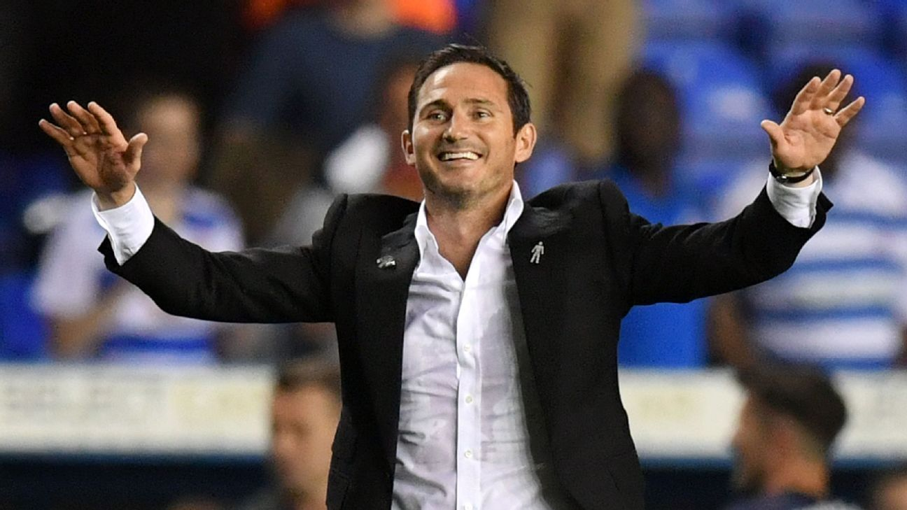 Frank Lampard celebrates after overseeing his first win as Derby County manager.