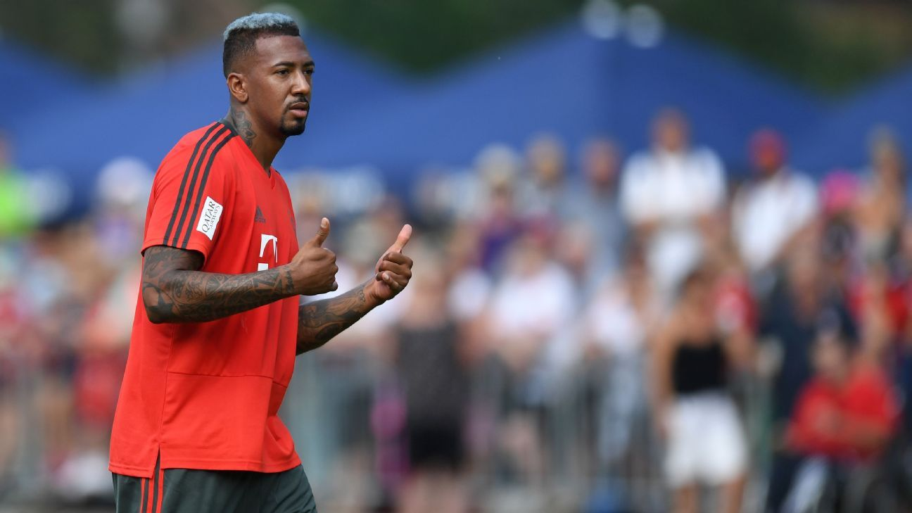 Jerome Boateng in preseason action for Bayern Munich.