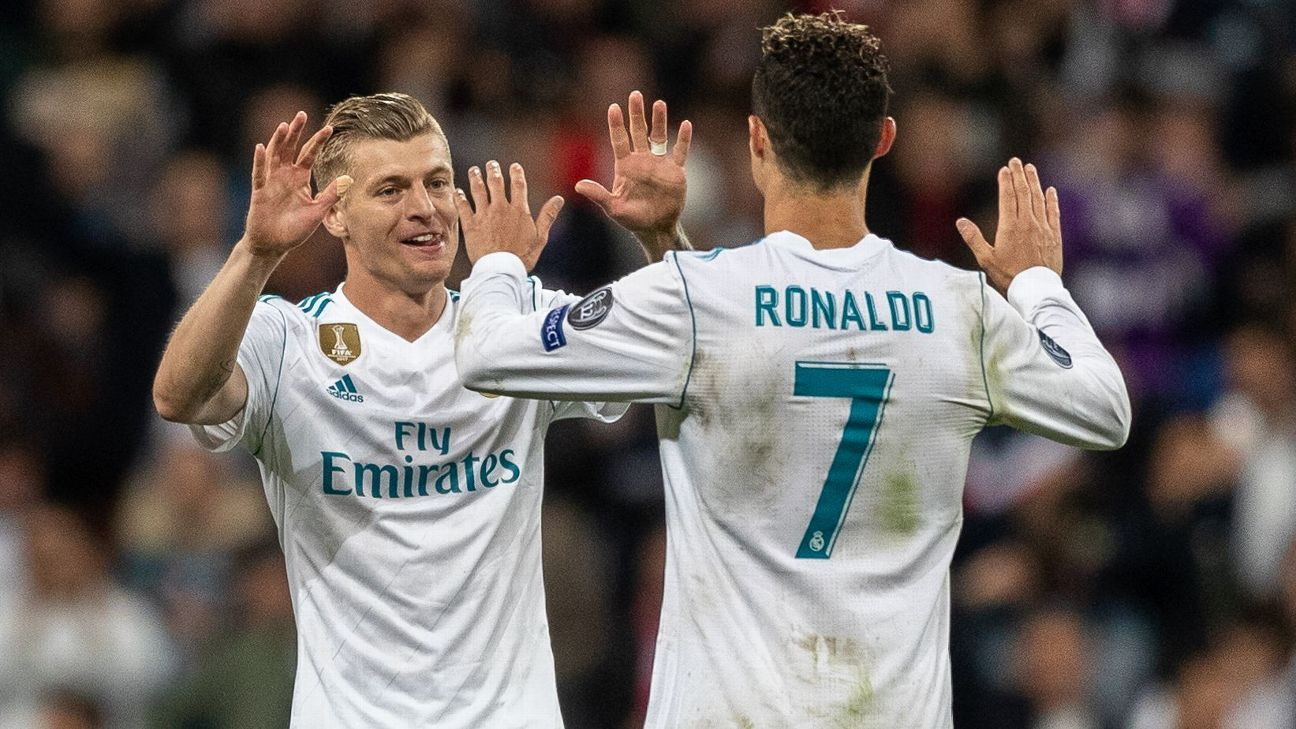 Toni Kroos and Cristiano Ronaldo won three consecutive Champions League together at Real Madrid