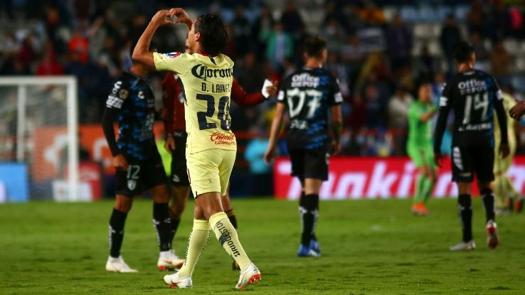 Diego Lainez of America celebrates after scoring.