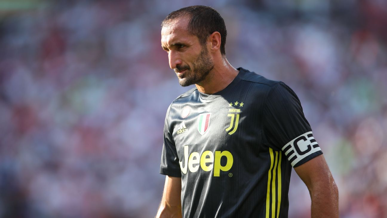 Giorgio Chiellini in preseason action for Juventus against Real Madrid.