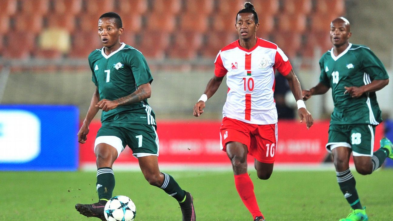 Andriamirado Andrianarimanana of Madagascar during the 2018 COSAFA Cup third place match between Madagascar and Lesotho.