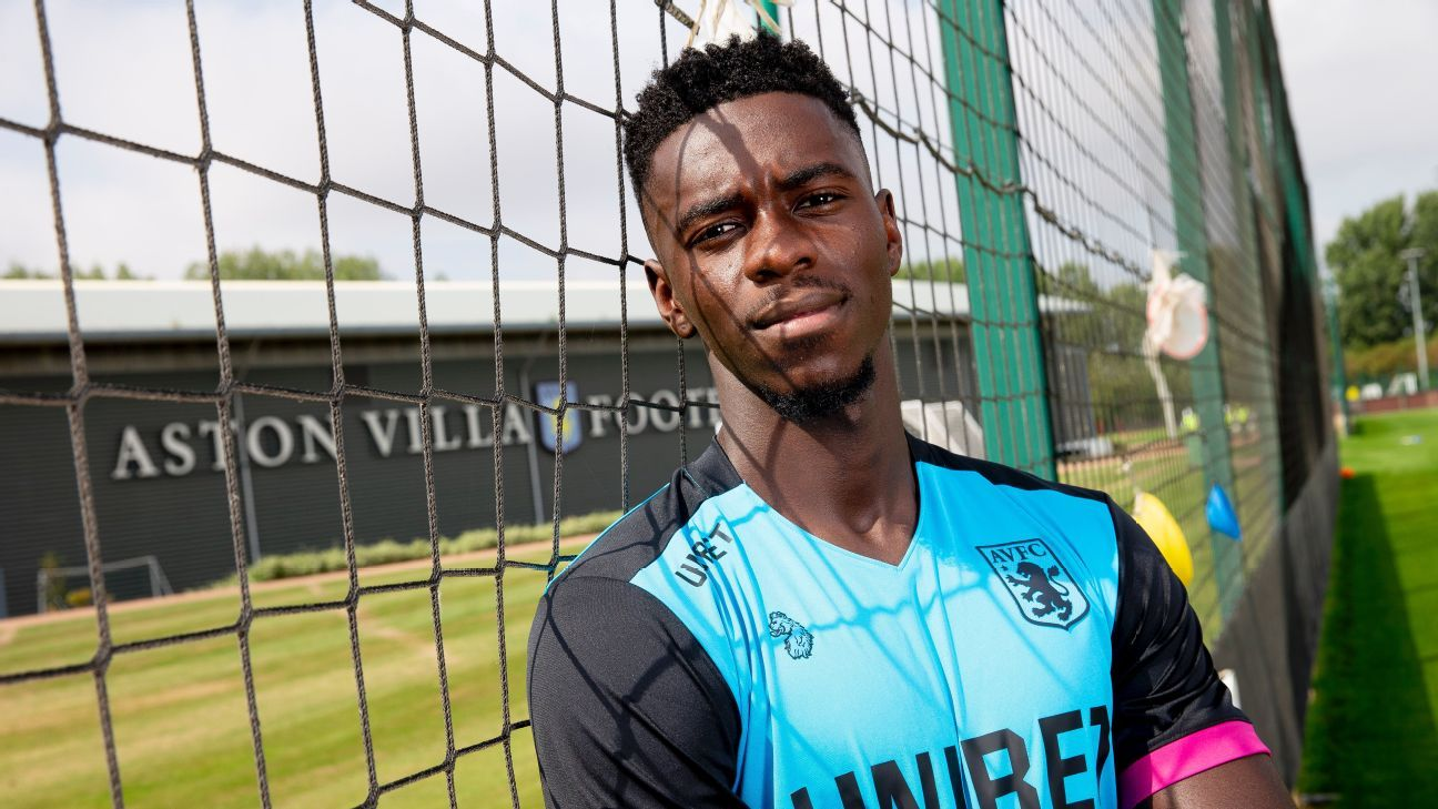 Aston Villa's Axel Tuanzebe poses for a photo after returning to the club on loan.