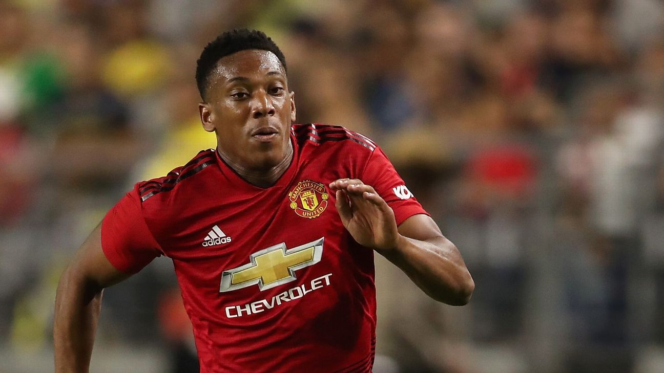 Manchester United's Anthony Martial during a friendly against Club America.