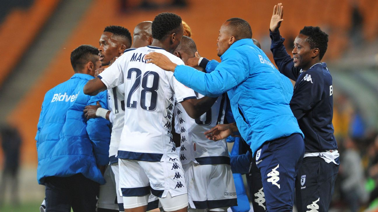 Deon Hotto of Bidvest Wits celebrates a goal with teammates