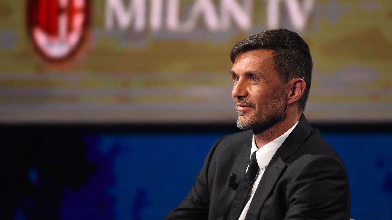 Former AC Milan defender Paolo Maldini attends the taping of a television show in Milan.