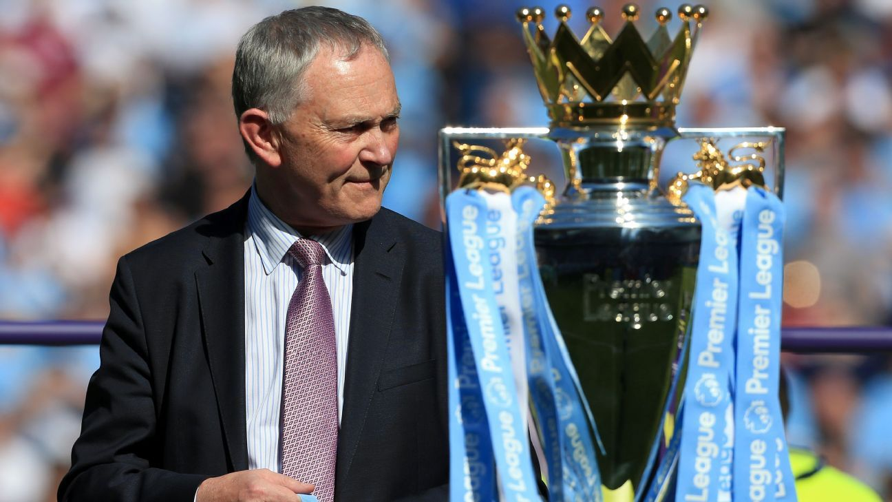 Richard Scudamore with the Premier League trophy.