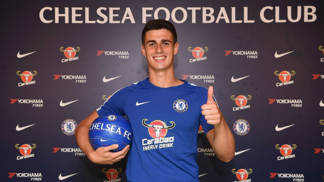Kepa Arrizabalaga poses for photos after becoming Chelsea's record signing and the most expensive goalkeeper in world football.