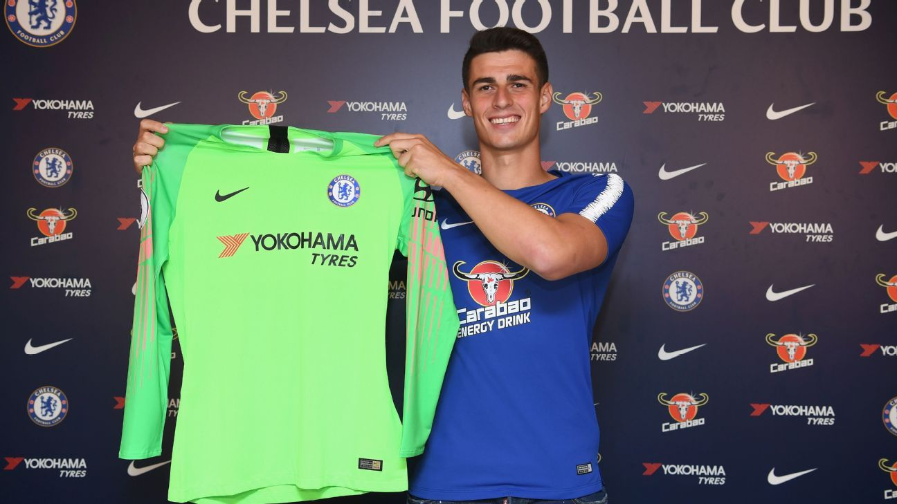Kepa Arrizabalaga poses after signing for Chelsea and becoming the most expensive goalkeeper in world football.
