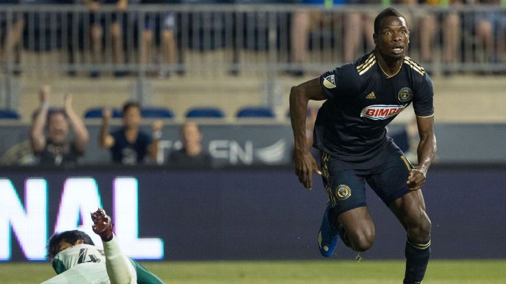 Philadelphia Union's Chris Burke celebrates after scoring in a U.S. Open Cup win against Chicago Fire.