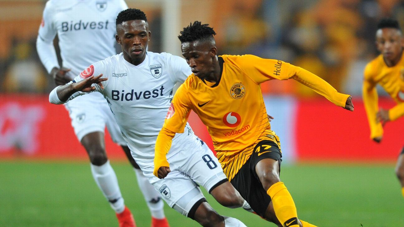 Kabelo Mahlasela of Kaizer Chiefs is challenged by Thabang Monare of Bidvest Wits  during the Absa Premiership match between Kaizer Chiefs and Bidvest Wits on the 07 August 2018.