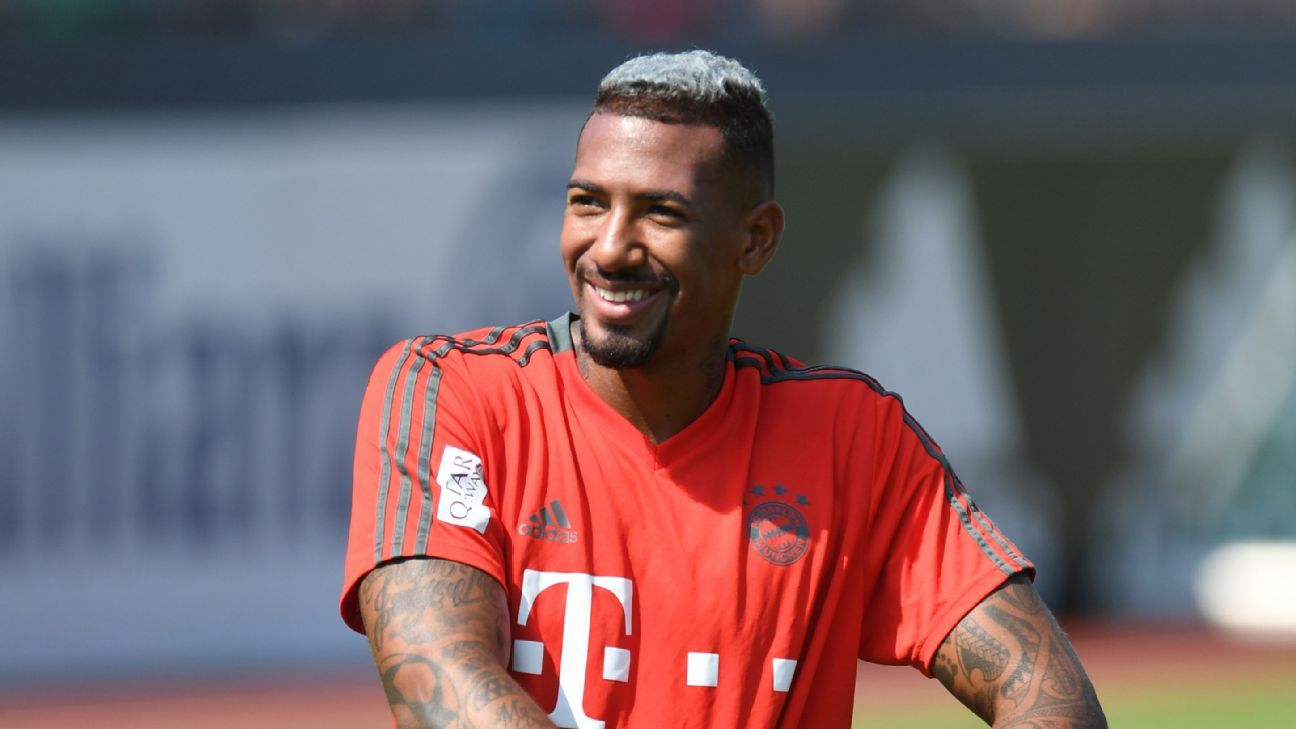Bayern Munich's Jerome Boateng takes a break from a training session.