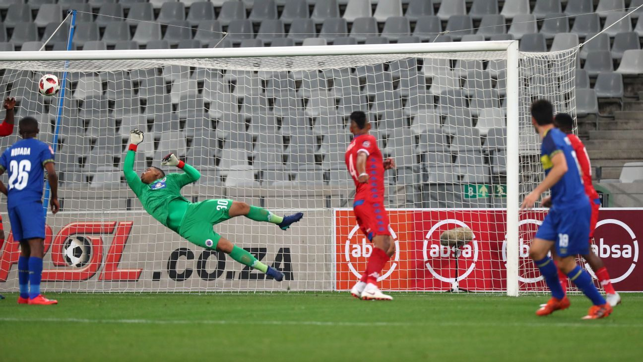 Roland Putsche of Cape Town City FC scores goal past Ronwen Williams of Supersport United during an Absa Premiership match between  at Cape Town Stadium on 4 August 2018.