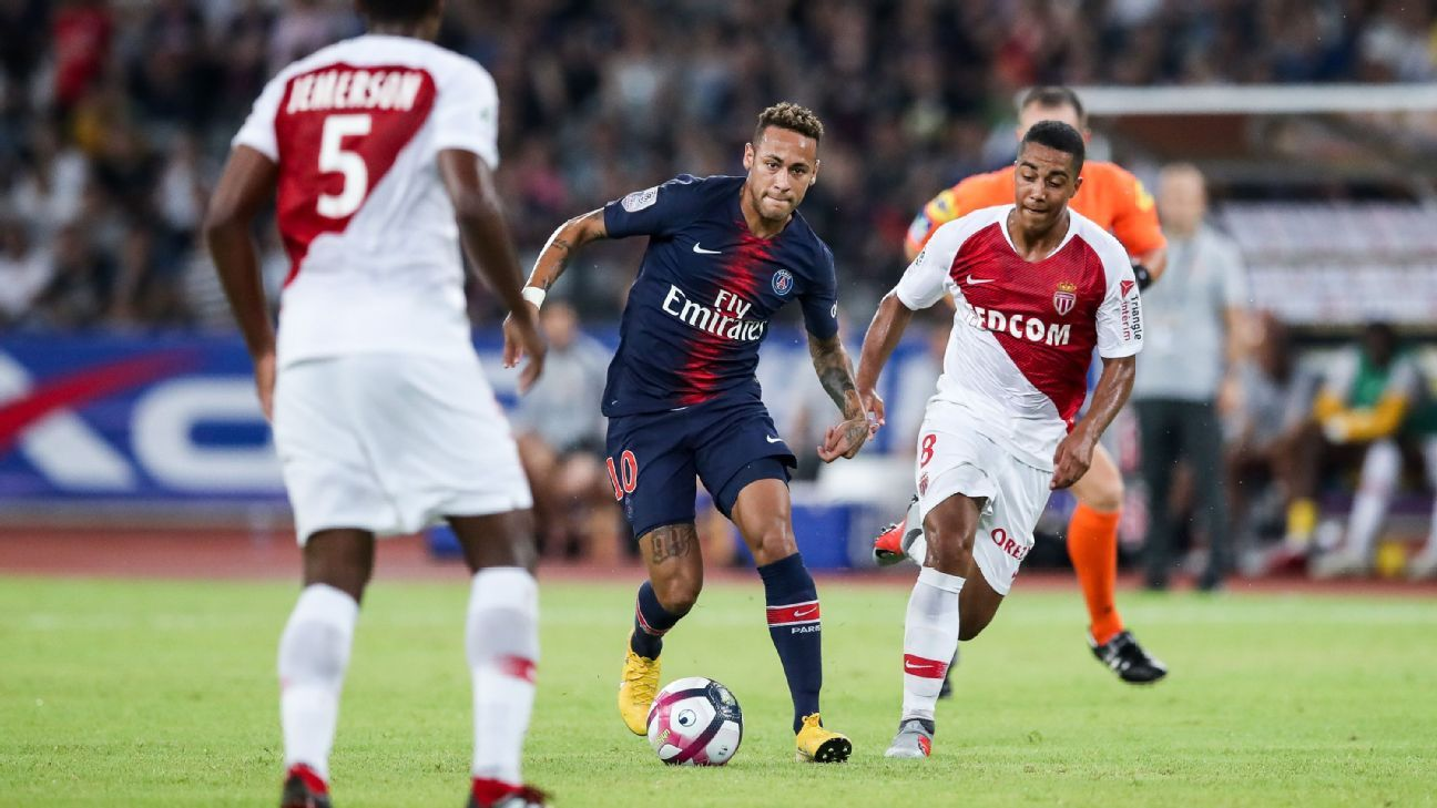 Neymar only played in the closing stages of PSG's win over Monaco in China