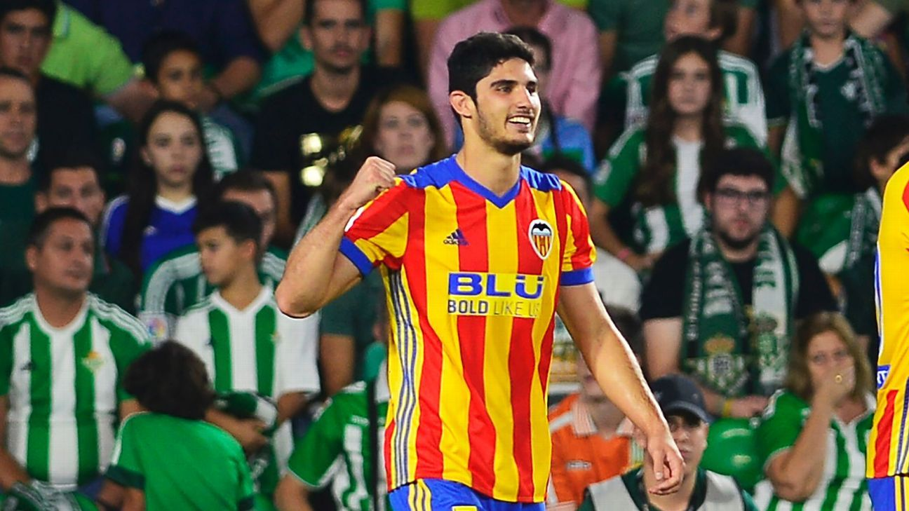 Valencia's Goncalo Guedes celebrates after scoring against Real Betis.
