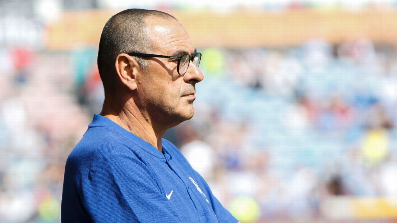Chelsea's Maurizio Sarri during his Premier League debut against Huddersfield Town.