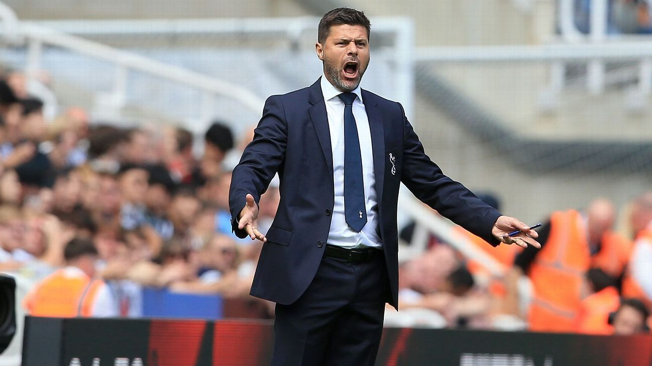Tottenham's Mauricio Pochettino shouts from the touchline during a game against Newcastle United.