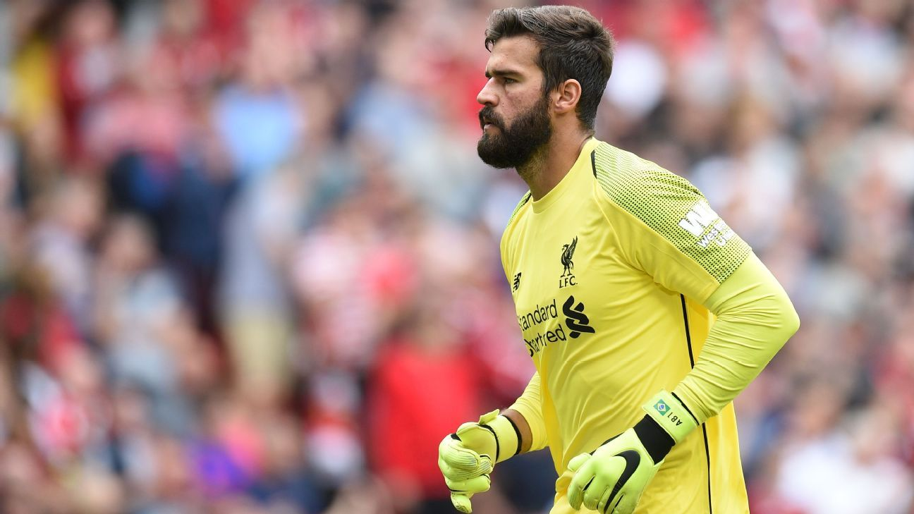 Liverpool's Alisson Becker, pictured on Premier League debut.