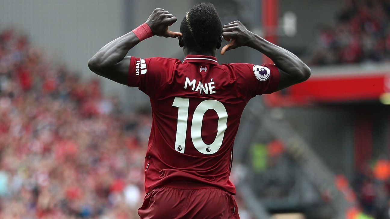 Sadio Mane celebrates scoring his side's second goal against West Ham.