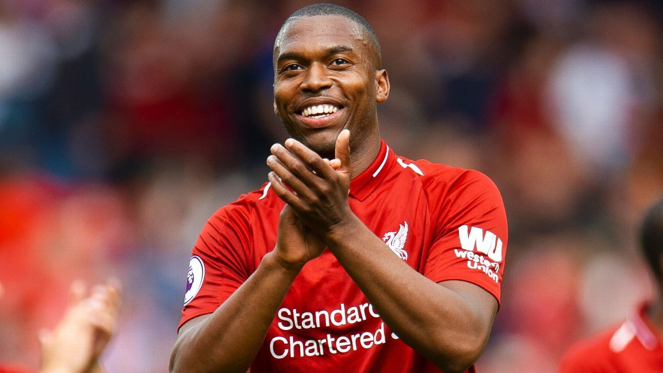 Daniel Sturridge celebrates at full-time after scoring against West Ham.