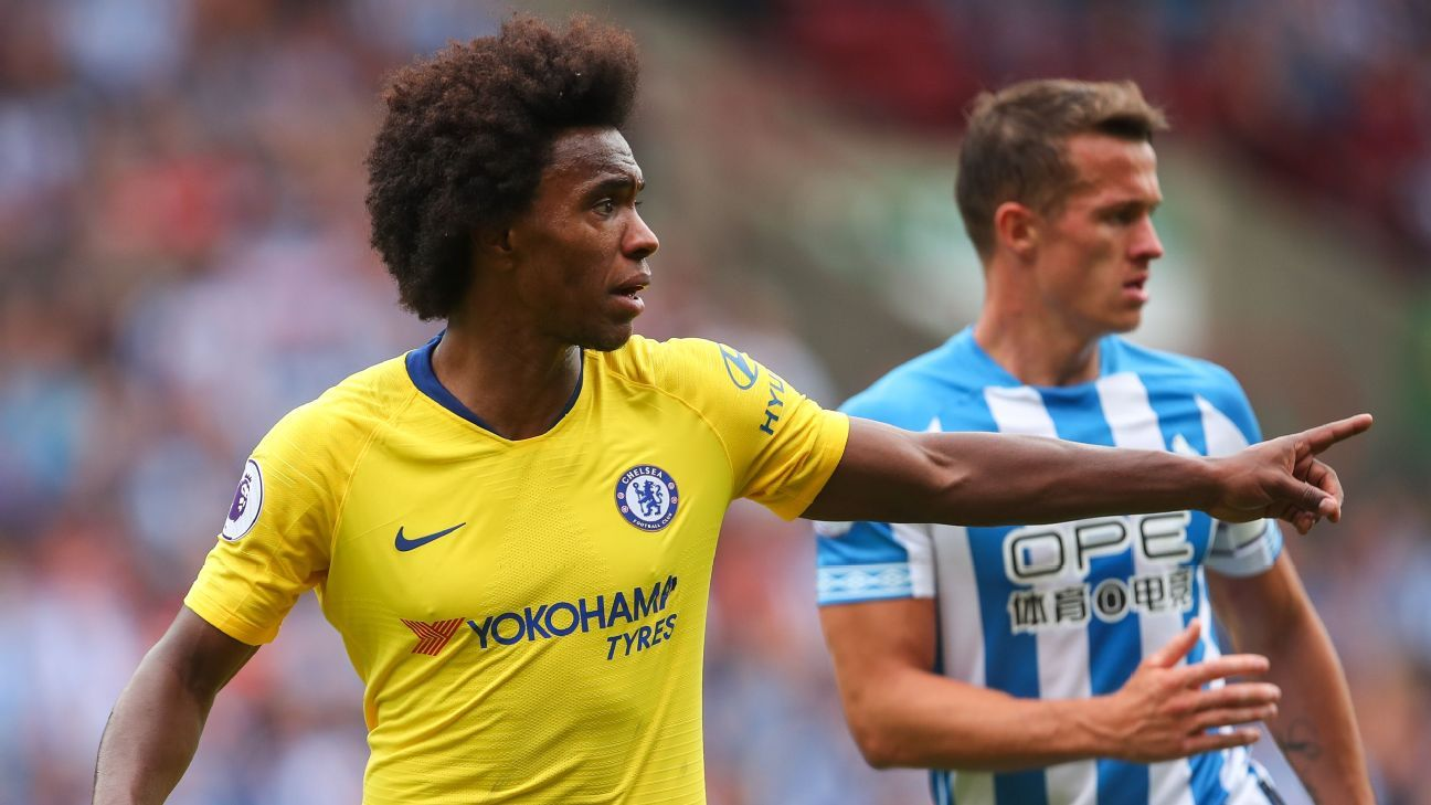 Chelsea's Willian during a Premier League game against Huddersfield Town.