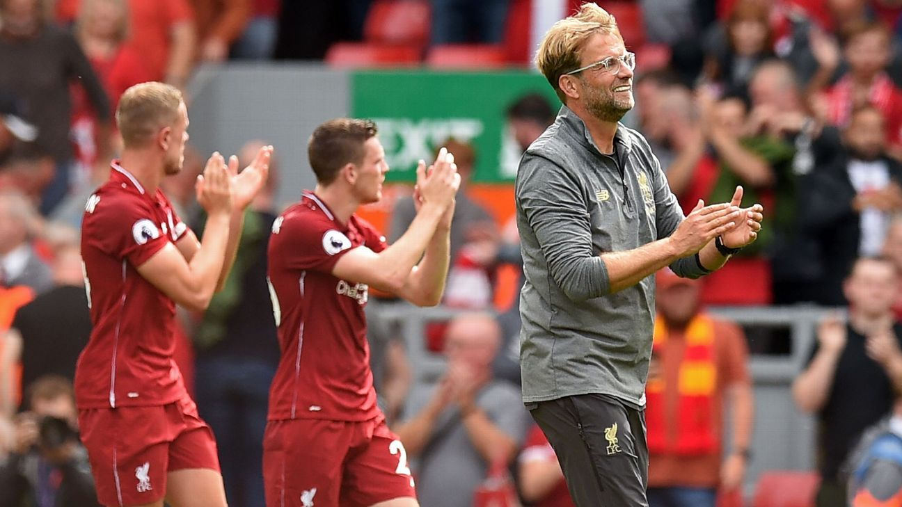 Jurgen Klopp applauds the fans after his side's opening day win over West Ham.