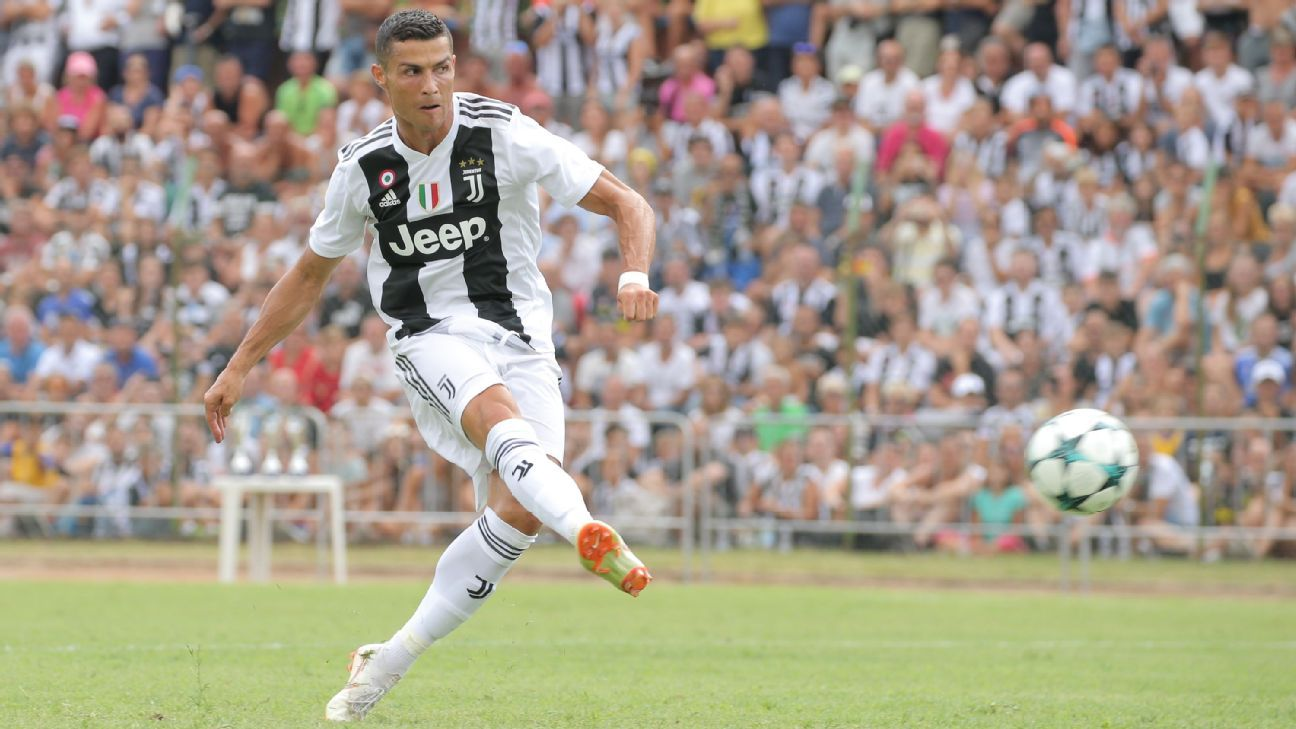 Cristiano Ronaldo shoots during Juventus' annual preseason friendly in Villar Perosa, Italy.